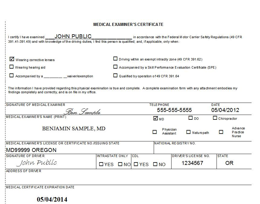 Cdl Medical Certificate Form Pictures to Pin PinsDaddy – Sample Medical Certificates