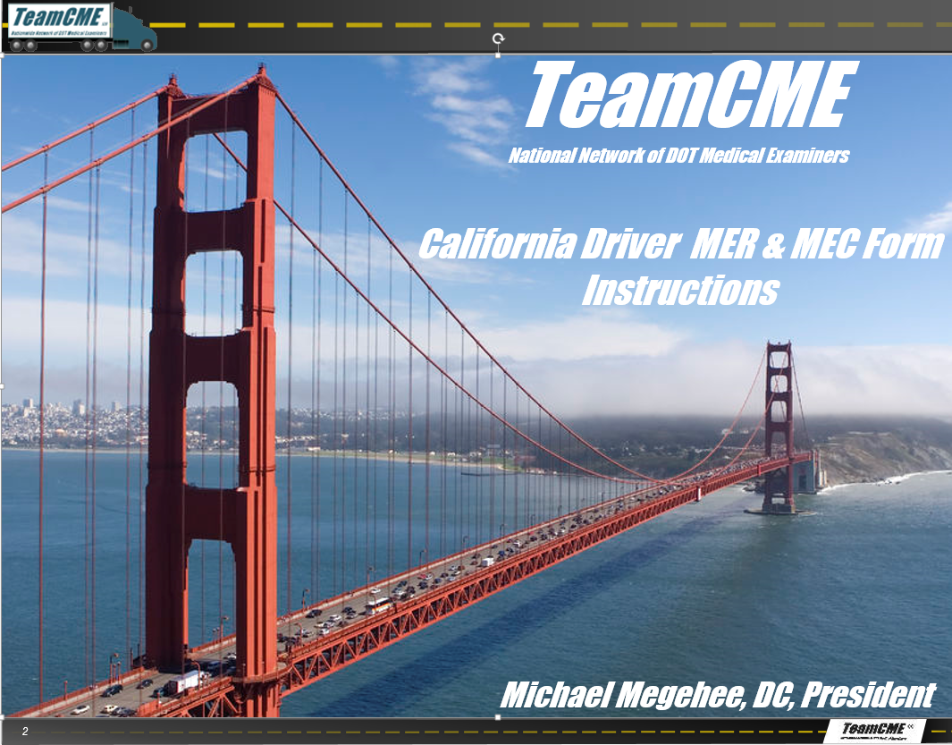 Training: How to Use MER MEC for Califonia Drivers