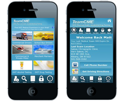 TeamCME mobile app on cell phone screen with info about DOT exam dates and locations